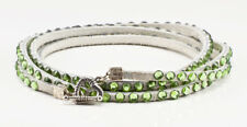 Swarovski crystal and leather wrap bracelet in white with green crystals