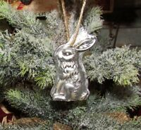 Primitive Antique Vtg Style Christmas Bunny Rabbit Resin Chocolate Mold Ornament
