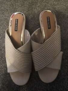 River Island Cream And Wooden Mule Shoes 7