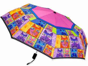 LAUREL BURCH Compact Umbrella Whiskered Cats Auto Open & Close nwt