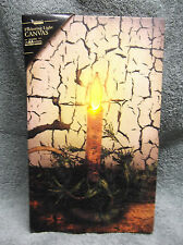 Primitive Candle Lighted Canvas Wall Decor Sign New Lights Up Flickers