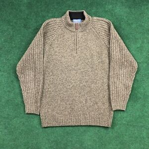 Men's Pendleton 100% Shetland Wool Green Half Zip Pullover Sweater Size Small