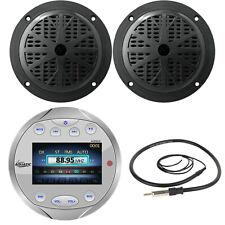"""Silver Round Bluetooth AUX AM/FM Radio, 4"""" Black Marine Speakers & Antenna"""