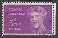 USA Briefmarke gestempelt 5c Eleanor Roosevelt Rand rechts Rundstempel / 2482