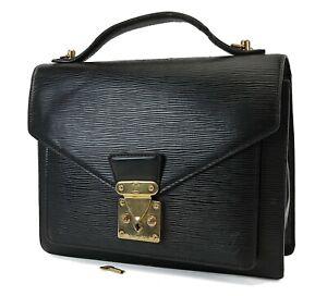 Authentic LOUIS VUITTON Monceau Black Epi Leather Hand Bag Purse #36372