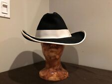 SILVER SPUR B bar H CATTLEMAN Black Pure Wool Cowboy Hat Size 7 3/8 Made in USA
