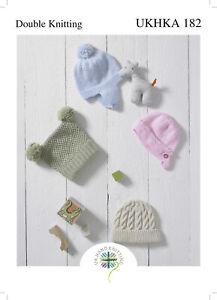 UKHKA 182 Baby Bonnet, Helmet, Pull On Hat & T Bag Hat Knitting Pattern In DK