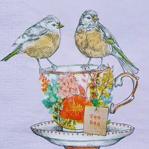 4 x Paper Napkins Serviettes Decoupage Napkins Birds and Tea Time Cup New
