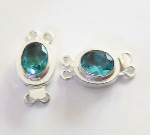 10 PC OVAL BLUE TOPAZ BOX CLASP 2 STRAND STERLING SILVER PLATED 618 WSH-654