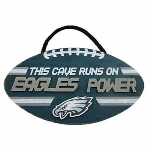 """NFL """"This Cave Runs On Eagles Power"""" Wood Football Sign"""