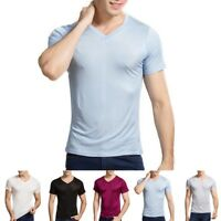 Mens Silk Knitted T-shirt Casual Short Sleeve Undershirt Summer Soft Cosy Shirts