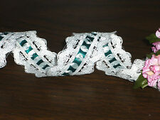 """5 Yards 1¼ """" Insertion Lace - WHITE with GREEN SATIN RIBBON"""