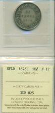 ICCS NFLD 1876H 50 cents F-12 XDB 825