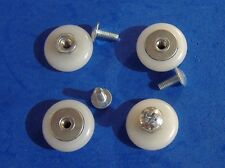 "LOT OF FOUR 7/8"" NYLON CONVEX ROUND SHOWER DOOR ROLLERS WITH SCREWS"