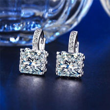 White Gold Plated Square Crystal Rhinestone Hoop Earrings Ear Stud Charm Jewelry