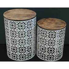 White Moroccan Nested Drum Shaped Tables Wood Top Round Metal Side Table Decor