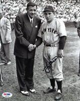 Yankees Yogi Berra Signed Authentic 8X10 Photo W/ Babe Ruth PSA/DNA