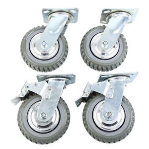 """4pcs Heavy Duty Industrial Rubber Caster Wheels 6"""",360° Swivel,Ball Bearing"""