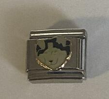 Alaskan Malamute Husky Dog Puppy Gold Tone Trim 9mm Italian Charm Bracelet Link