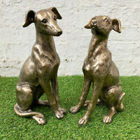 Outdoor Garden Statue Ornament Art Sculpture Gold Resin Regal Greyhound Dog Gift
