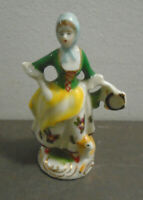 """VINTAGE HAND PAINTED PORCELAIN FIGURINE WOMAN WITH SHEEP MADE IN JAPAN 3.75"""""""