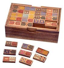 Domino Doppel Double 15 Legespiel Gesellschaftsspiel 136 Steine Im Holzkasten