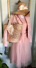 NWT J.Crew Pink Straw Basket Bag With Matching Hat