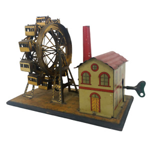 Antique German Hess Tin Lithograph Mechanical Automaton Fair Windup Ferris Wheel