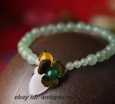 Vogue Chinese Aventurine Jade/Green*Yellow Agate/White Glaze Hand Chain Bracelet