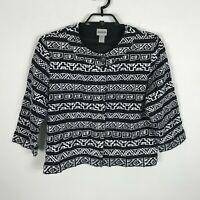 Chico's Womens Jacket Blazer Size 2 Black Embroidered 3/4 Sleeve Cotton