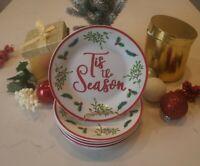 """Tis The Season"" Royal Norfolk Christmas  Holly & Berry Set of 6. Dessert Plates"