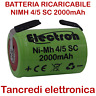 Batteria ricaricabile Ni-Mh 4/5 SC 1,2V 2000mAh terminali a saldare lamelle tabs