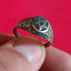 ANCIENT ROMAN BRONZE DECORATED STAR RING EUROPEAN FINDS