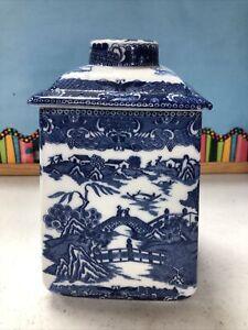 "English Ringtons Ltd Tea Merchant's Biscuit Jar - Blue Willow Marked 8"" Good"