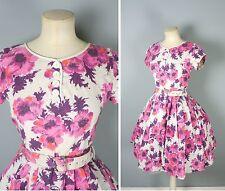 50s Originale Vintage Rosa Stampa Floreale Abito estivo gonna cintura-S Petite