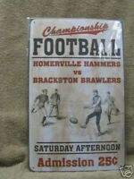 Vintage look Football Tin Metal Advertising Sign New Sports