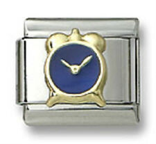 New 18k Gold Italian Charm Blue Enamel Alarm Clock 9 mm Bracelet Modular Link