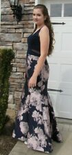 Fit and Flare Navy Pink Floral  Formal Bridesmaid Prom Dress 14 XSCAPE