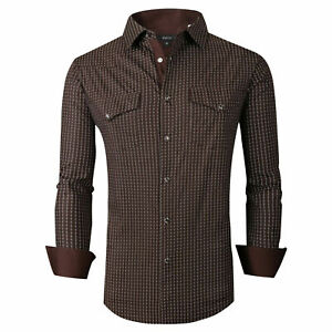 Mens Western Shirt Brown Casual Prints Stretch Pearl Snap Up Pockets General