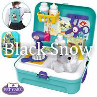 16 Pcs Kids Dog Grooming Doctor Kit Pet Care Play Set Back Pack Vet Kits Toys