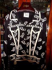 Michael Simon M Equestrian Horse Western Rodeo Cowboy Black Sweater top jacket