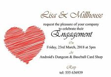 50 invites Red Scribble Heart Engagement Invitation Cards - 50 invites