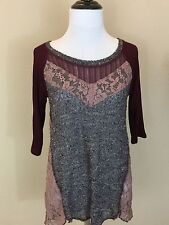 NEW Women's Nordstrom's Top Burgundy/Gray/Pink Short Sleeve