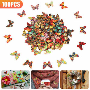 LOT Wood Butterfly Handmade 2 Holes Wooden Buttons DIY Sewing Scrapbooking Craft