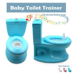 Blue Portable Toddler Potty Training Toilet w/ Flushing Sound Baby Chair Seat Ki