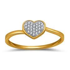 10K Solid Gold w/ round 0.09ct heart shaped, diamond engagement ring