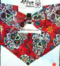Day Of The Dead Skull Bandana for Dogs & Other Pets Some With Matching Bow