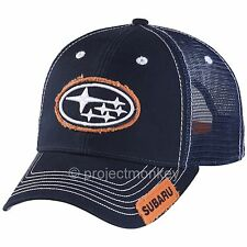 Subaru Navy Blue / Orange Star Cluster Logo Patch Adjustable Hat Cap Licensed