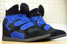 Atmosphere Suede Ankle Casual Wedge Trainer Boots 5/38 Black Blue Uk Freepost