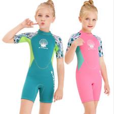 Kids Children 2.5mm Neoprene Diving Suits Youth Girl Swim Scuba Short Wetsuits